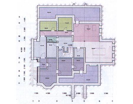 Планировка цокольного этажа :: Проект дома из комбинированных материалов 31-16