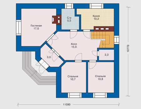 Планировка первого этажа :: Проект дома из кирпича 31-82