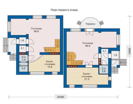 Планировка первого этажа :: Проект дома из кирпича 33-14