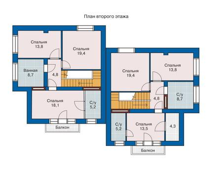 Планировка второго этажа :: Проект дома из кирпича 33-14