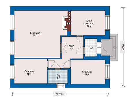 Планировка первого этажа :: Проект дома из кирпича 33-18