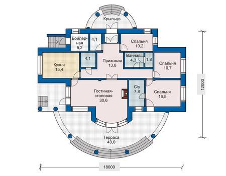 Планировка первого этажа :: Проект дома из кирпича 33-21