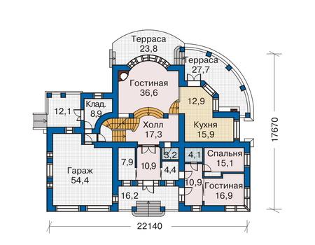 Планировка первого этажа :: Проект дома из комбинированных материалов 33-76
