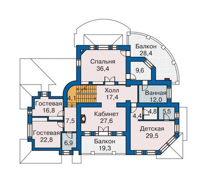 Планировка второго этажа :: Проект дома из комбинированных материалов 33-76