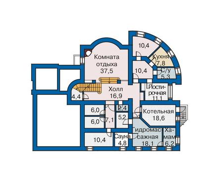 Планировка цокольного этажа :: Проект дома из комбинированных материалов 33-76