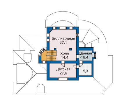 Планировка мансардного этажа :: Проект дома из комбинированных материалов 33-76