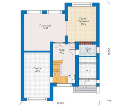 Планировка первого этажа :: Проект дома из кирпича 34-65