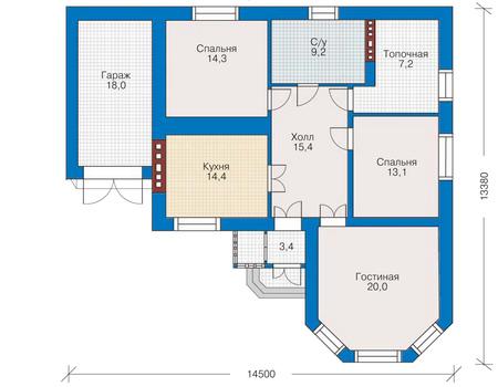 Планировка первого этажа :: Проект дома из кирпича 34-74