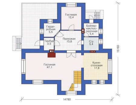 План первого этажа, проект дома из кирпича общей площадью 211,5 кв. метров.