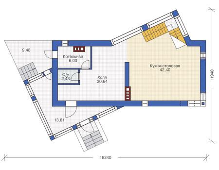 Планировка первого этажа :: Проект дома из кирпича 36-54