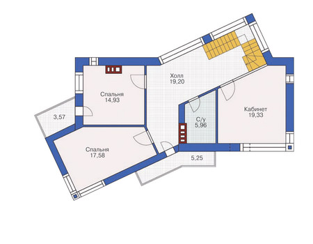 Планировка второго этажа :: Проект дома из кирпича 36-54