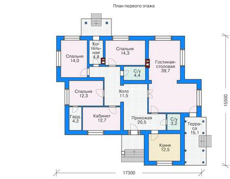 Планировка первого этажа :: Проект дома из кирпича 36-73