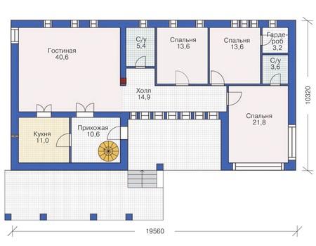 План первого этажа, проект дома из кирпича общей площадью 138,1 кв. метров.