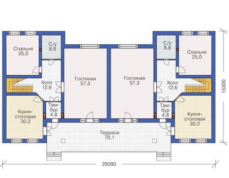 Планировка первого этажа :: Проект дома из кирпича 37-31