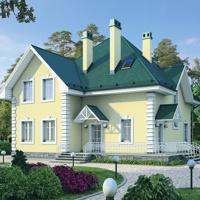 Проект дома из блоков и кирпича общей площадью 188 кв. метров.