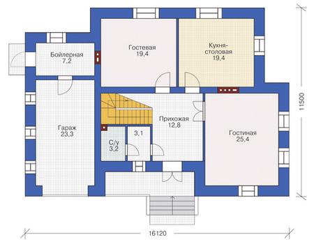 Планировка первого этажа :: Проект дома из кирпича 37-67
