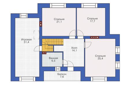 Планировка мансардного этажа :: Проект дома из кирпича 37-67