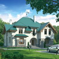 Кирпичный загородный дом - План 37-70.