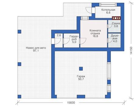 Планировка первого этажа :: Проект дома из кирпича 37-90