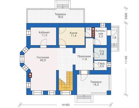 Планировка первого этажа :: Проект дома из кирпича 38-02