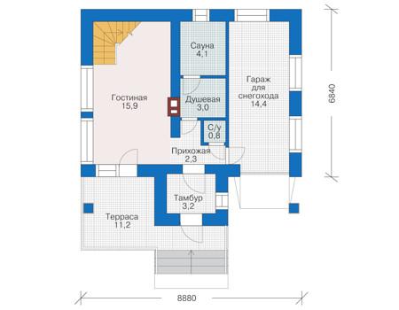 Планировка первого этажа :: Проект дома из кирпича 38-90