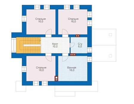 Планировка мансардного этажа :: Проект дома из кирпича 39-27