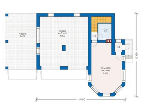 Планировка первого этажа :: Проект дома из кирпича 39-31