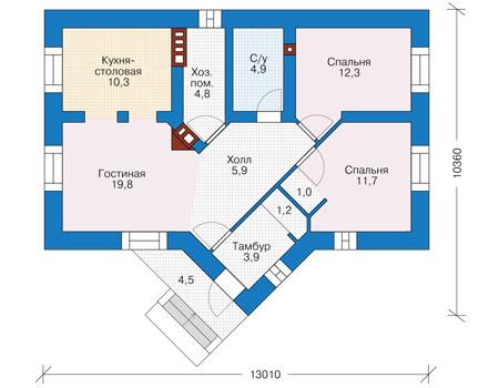 Планировка первого этажа :: Проект дома из кирпича 40-10