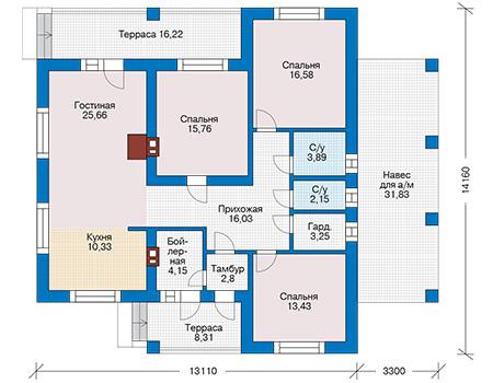 Планировка первого этажа :: Проект дома из кирпича 40-34