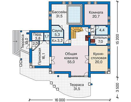 Планировка первого этажа :: Проект дома из кирпича 40-48