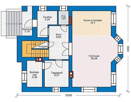Планировка первого этажа :: Проект дома из кирпича 41-10