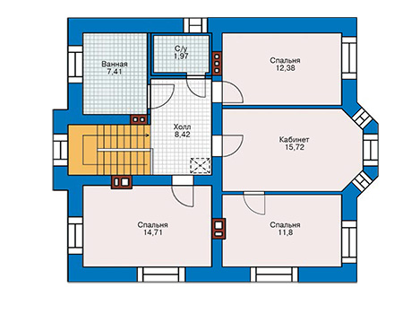 Планировка второго этажа :: Проект дома из кирпича 41-10
