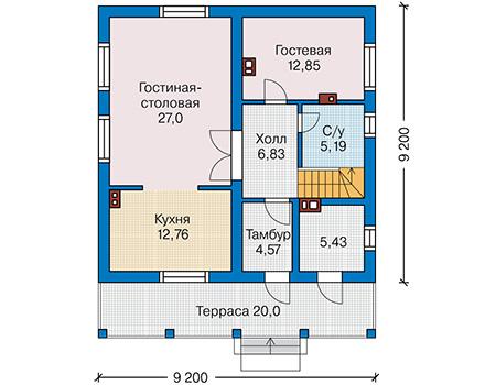 Планировка первого этажа :: Проект дома из кирпича 41-28