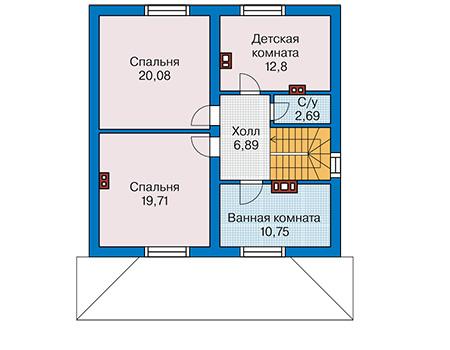 Планировка мансардного этажа :: Проект дома из кирпича 41-28