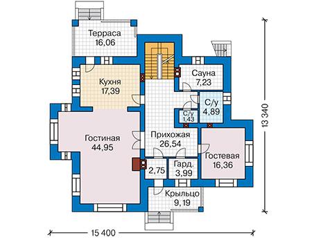 Планировка первого этажа :: Проект дома из комбинированных материалов 41-33