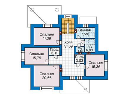 Планировка мансардного этажа :: Проект дома из комбинированных материалов 41-33