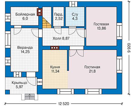 Планировка первого этажа :: Проект дома из кирпича 41-44