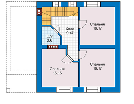 Планировка мансардного этажа :: Проект дома из кирпича 41-44