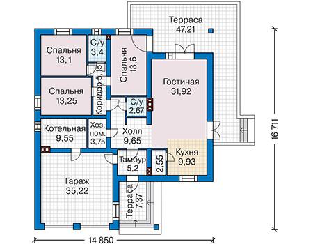 Планировка первого этажа :: Проект дома из кирпича 41-45