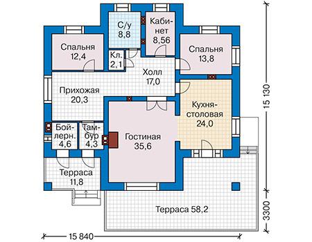 Планировка первого этажа :: Проект дома из кирпича 41-61