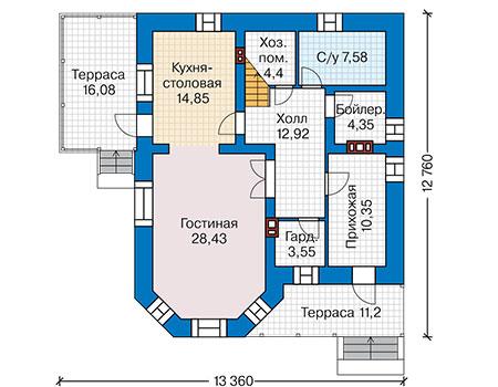 Планировка первого этажа :: Проект дома из кирпича 42-00