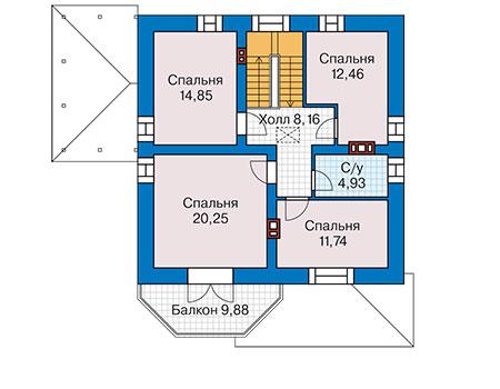 Планировка мансардного этажа :: Проект дома из кирпича 42-00