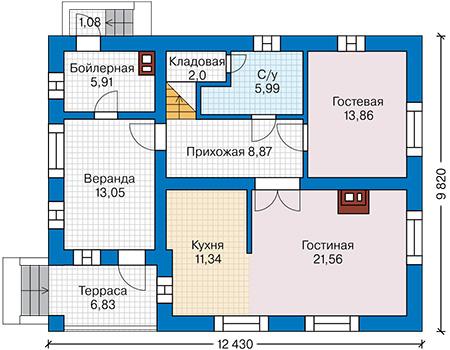 Планировка первого этажа :: Проект дома из комбинированных материалов 42-03
