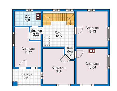 Планировка второго этажа :: Проект дома из комбинированных материалов 42-03