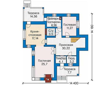 Планировка первого этажа :: Проект дома из кирпича 42-07