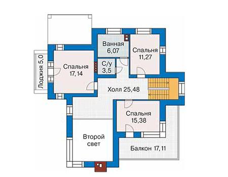 Планировка второго этажа :: Проект дома из кирпича 42-07