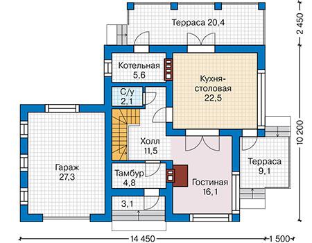 Планировка первого этажа :: Проект дома из кирпича 42-22