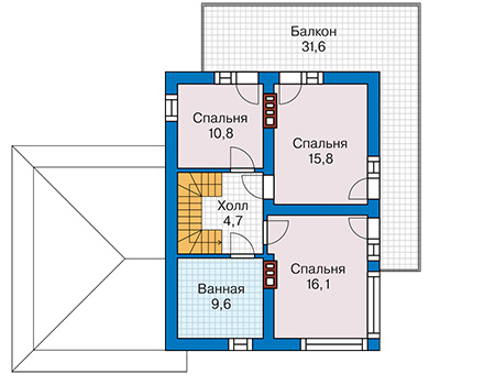 Планировка второго этажа :: Проект дома из кирпича 42-22