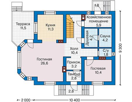 Планировка первого этажа :: Проект дома из кирпича 42-25