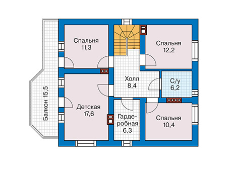 Планировка мансардного этажа :: Проект дома из кирпича 42-25